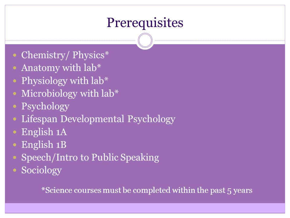 Prerequisites Chemistry/ Physics* Anatomy with lab* Physiology with lab* Microbiology with lab* Psychology Lifespan Developmental Psychology English 1A English 1B Speech/Intro to Public Speaking Sociology *Science courses must be completed within the past 5 years