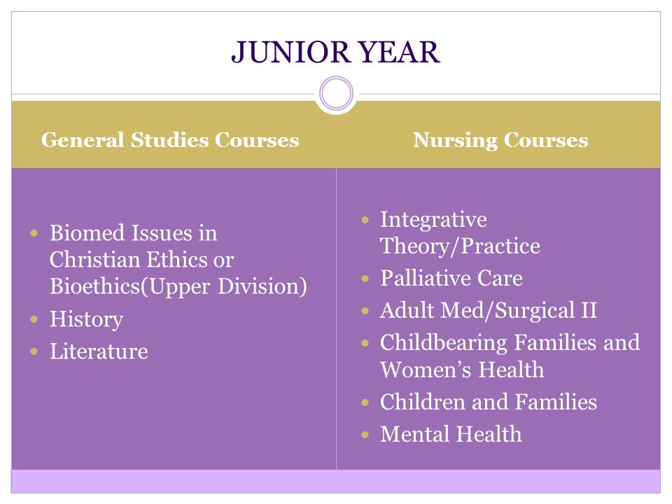 General Studies Courses Nursing Courses Biomed Issues in Christian Ethics or Bioethics(Upper Division) History Literature Integrative Theory/Practice