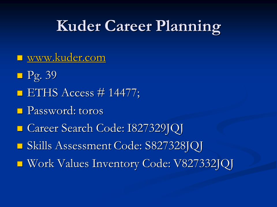 Kuder Career Planning www.kuder.com www.kuder.com www.kuder.com Pg.