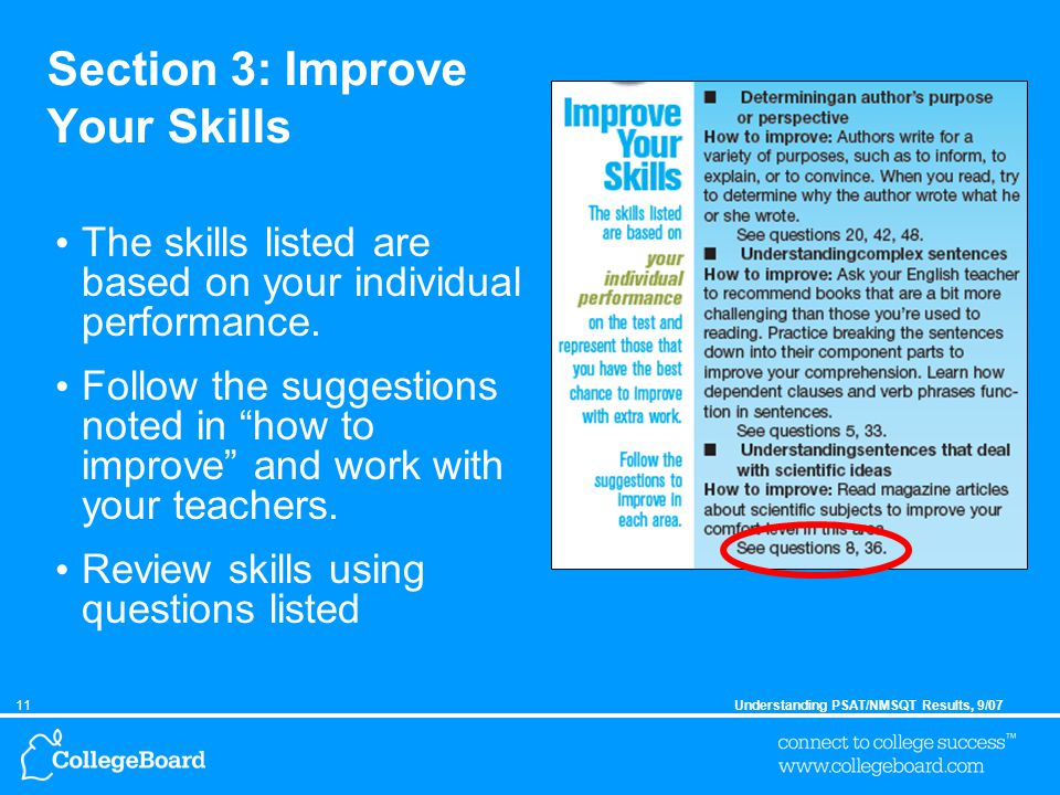 11Understanding PSAT/NMSQT Results, 9/07 Section 3: Improve Your Skills The skills listed are based on your individual performance.