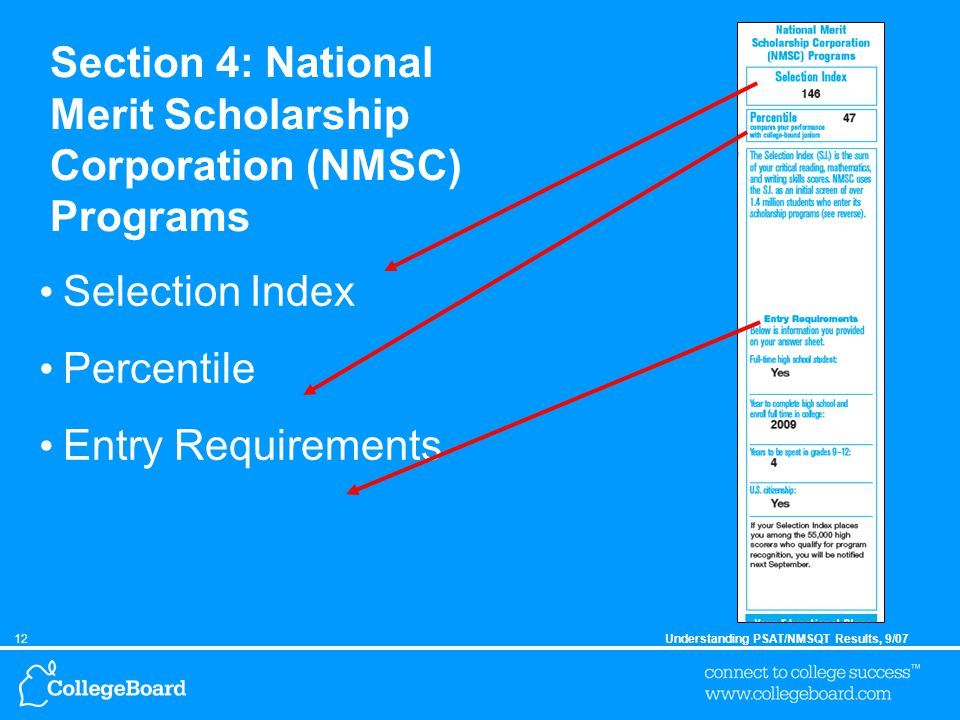12Understanding PSAT/NMSQT Results, 9/07 Section 4: National Merit Scholarship Corporation (NMSC) Programs Selection Index Percentile Entry Requirements