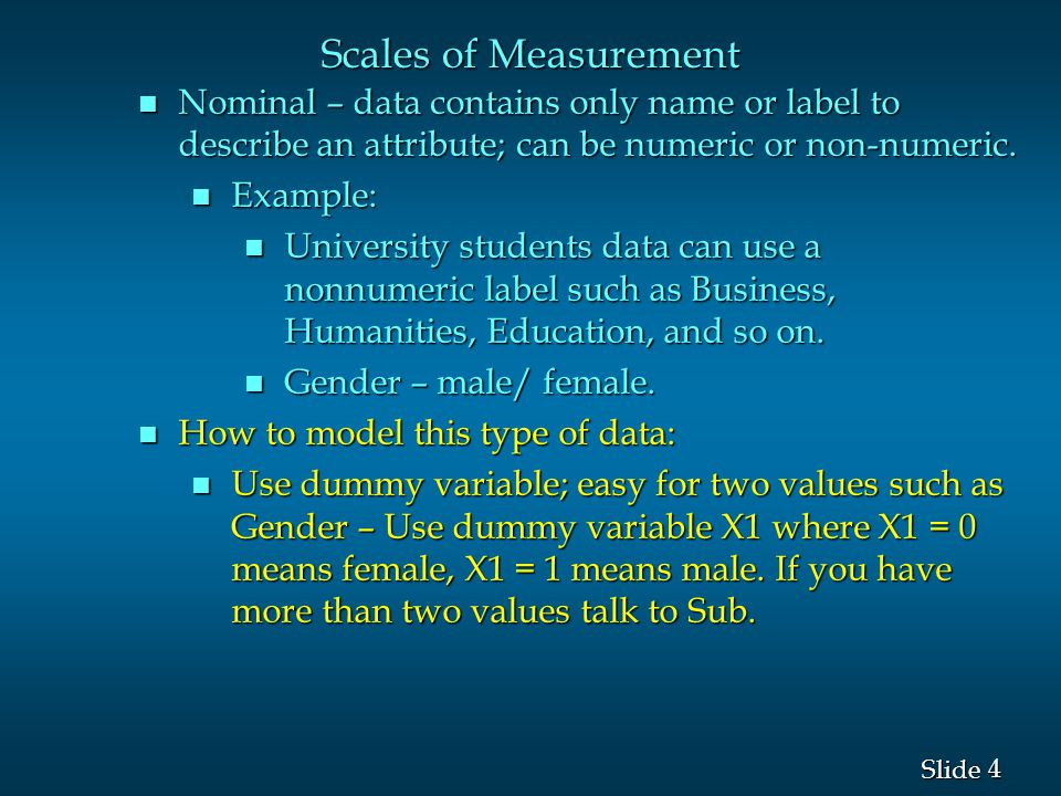 5 5 Slide Scales of Measurement n Ordinal – nominal data properties plus there is a meaningful order or rank of the data; can be numeric or non-numeric Examples: 1.