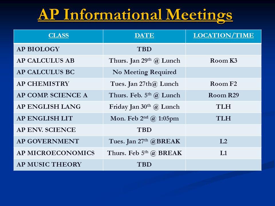 AP Informational Meetings CLASSDATELOCATION/TIME AP BIOLOGYTBD AP CALCULUS ABThurs.