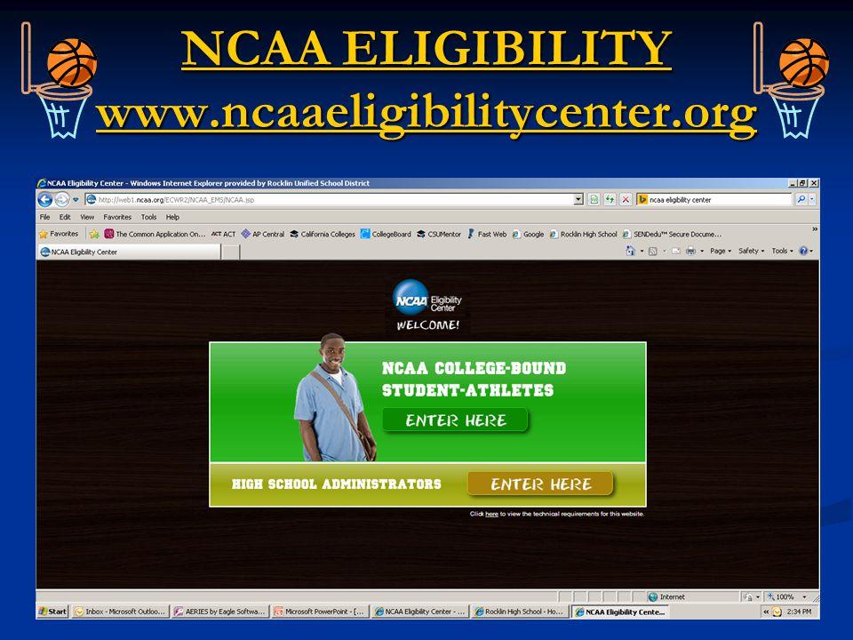 NCAA ELIGIBILITY www.ncaaeligibilitycenter.org