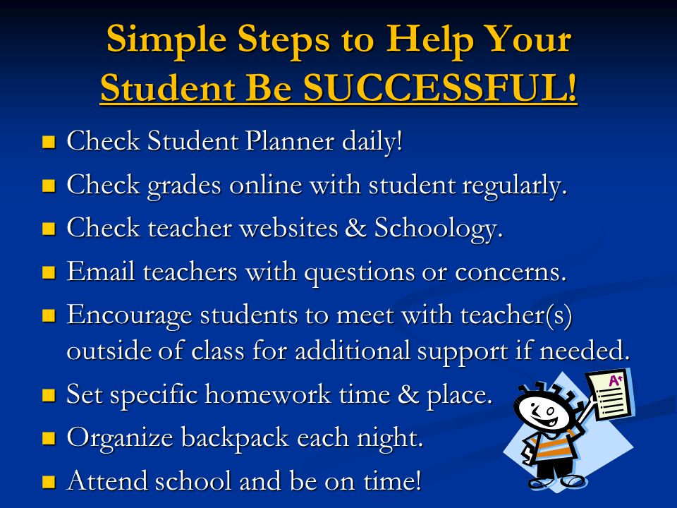 Simple Steps to Help Your Student Be SUCCESSFUL. Check Student Planner daily.