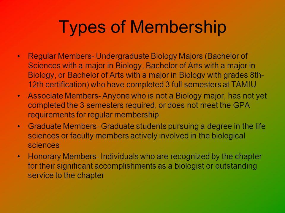 GPA Requirments For regular membership only: Sophomore Standing (45 hours) 3.5 Biology GPA Junior Standing (70 hours) 3.25 Biology GPA Senior Standing (90 hours) 3.0 Biology GPA