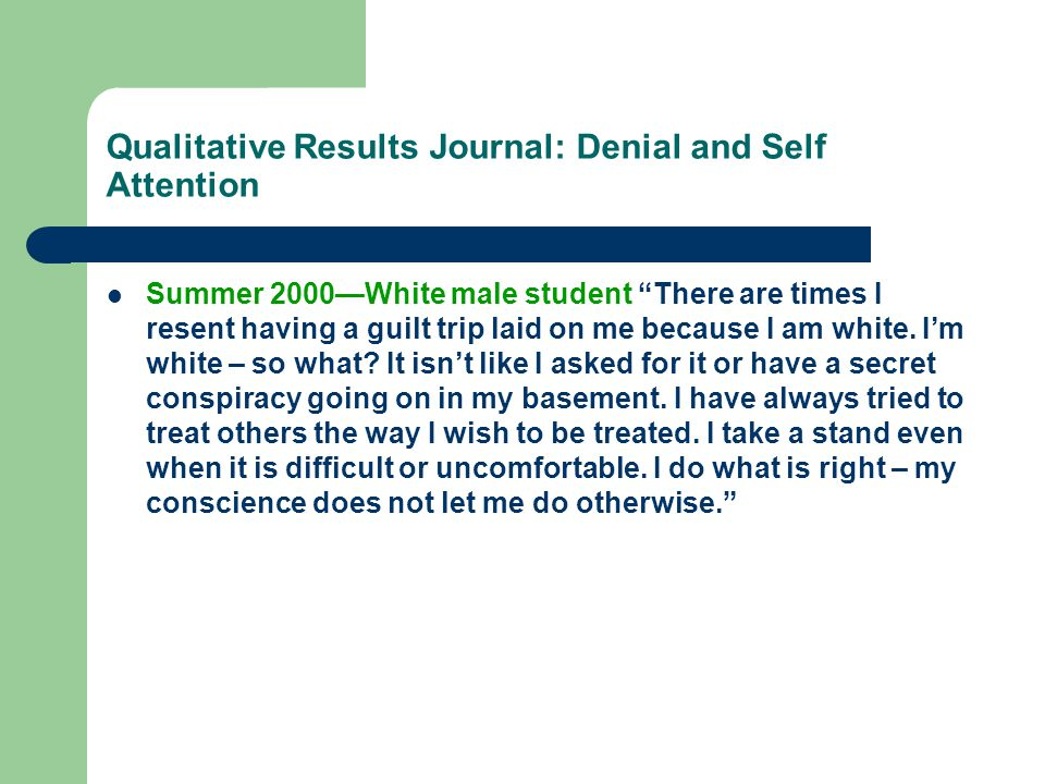 Qualitative Results Journals: Denial and Selective Attention Defense Mechanisms Summer 2003—White female student There were two topics spoken about today that pissed me off.