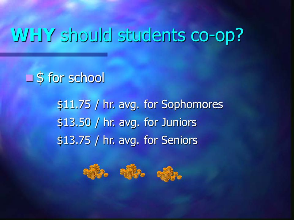 WHY should students co-op. $ for school $ for school $11.75 / hr.