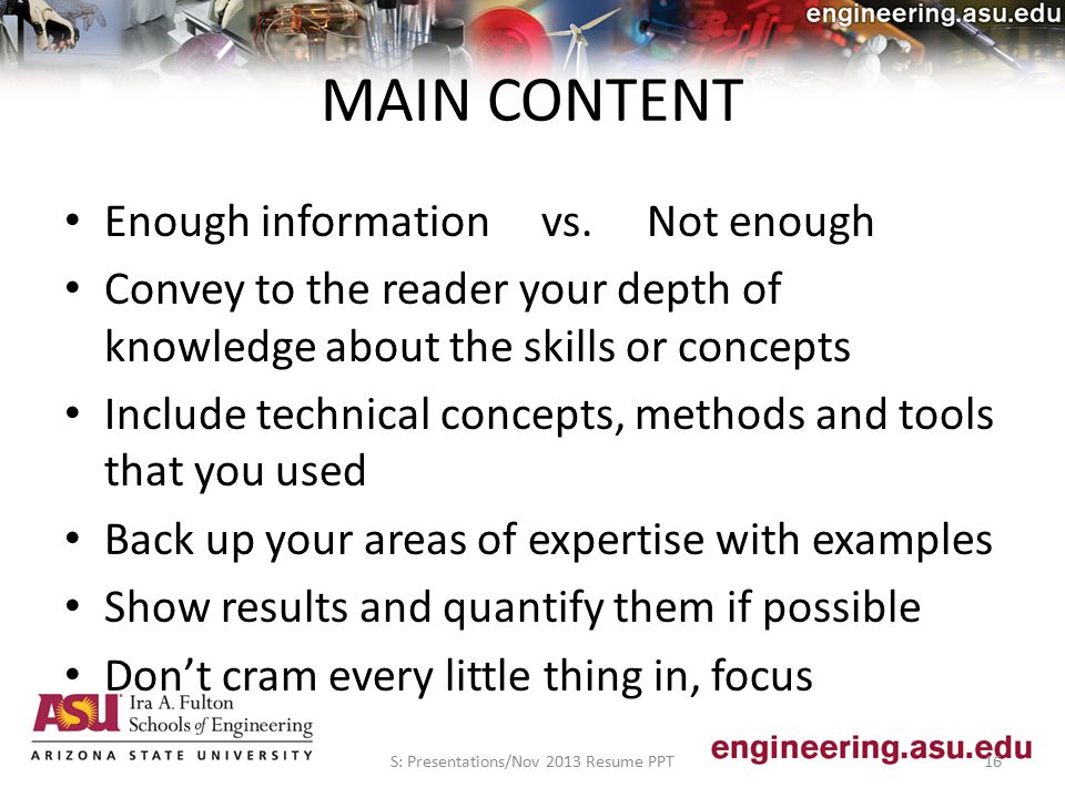 MAIN CONTENT Enough information vs.