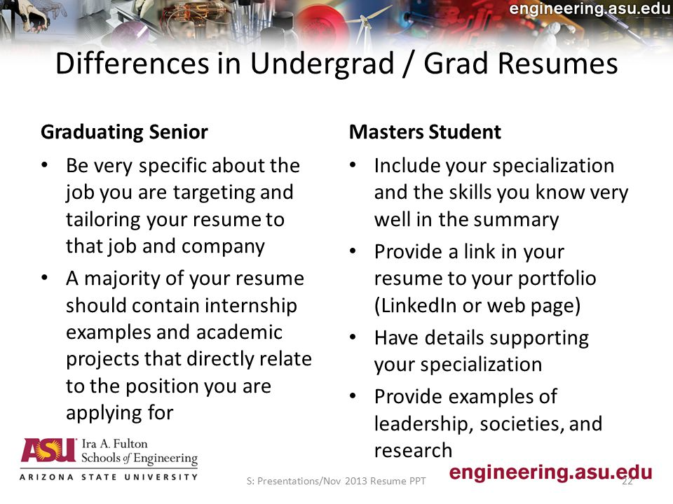 Graduating Senior Be very specific about the job you are targeting and tailoring your resume to that job and company A majority of your resume should contain internship examples and academic projects that directly relate to the position you are applying for Masters Student Include your specialization and the skills you know very well in the summary Provide a link in your resume to your portfolio (LinkedIn or web page) Have details supporting your specialization Provide examples of leadership, societies, and research S: Presentations/Nov 2013 Resume PPT22 Differences in Undergrad / Grad Resumes