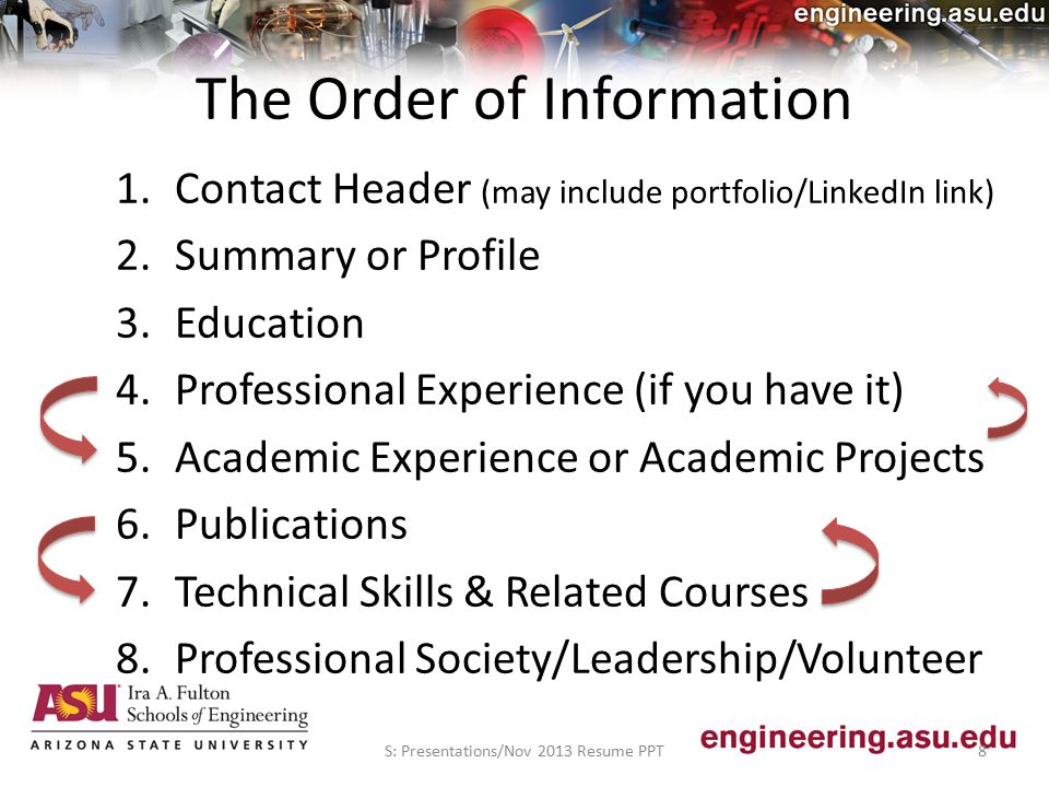 The Order of Information 1.Contact Header (may include portfolio/LinkedIn link) 2.Summary or Profile 3.Education 4.Professional Experience (if you have it) 5.Academic Experience or Academic Projects 6.Publications 7.Technical Skills & Related Courses 8.Professional Society/Leadership/Volunteer S: Presentations/Nov 2013 Resume PPT8