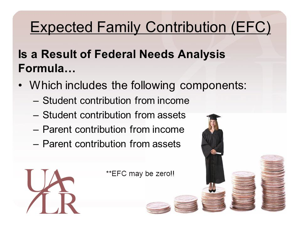 Expected Family Contribution (EFC) Is a Result of Federal Needs Analysis Formula… Which includes the following components: –Student contribution from income –Student contribution from assets –Parent contribution from income –Parent contribution from assets **EFC may be zero!!