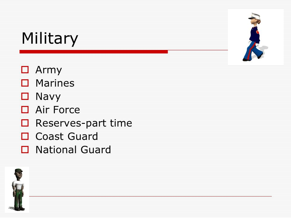 Military  Army  Marines  Navy  Air Force  Reserves-part time  Coast Guard  National Guard