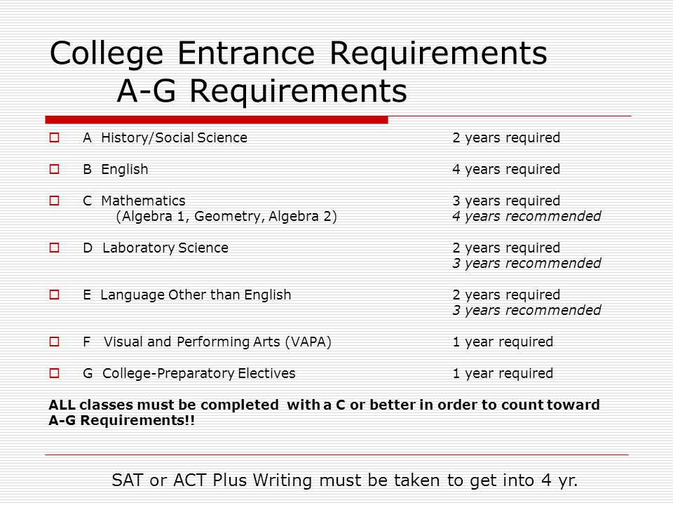College Entrance Requirements A-G Requirements  A History/Social Science2 years required  B English4 years required  C Mathematics3 years required (Algebra 1, Geometry, Algebra 2) 4 years recommended  D Laboratory Science2 years required 3 years recommended  E Language Other than English2 years required 3 years recommended  F Visual and Performing Arts (VAPA) 1 year required  G College-Preparatory Electives 1 year required ALL classes must be completed with a C or better in order to count toward A-G Requirements!.