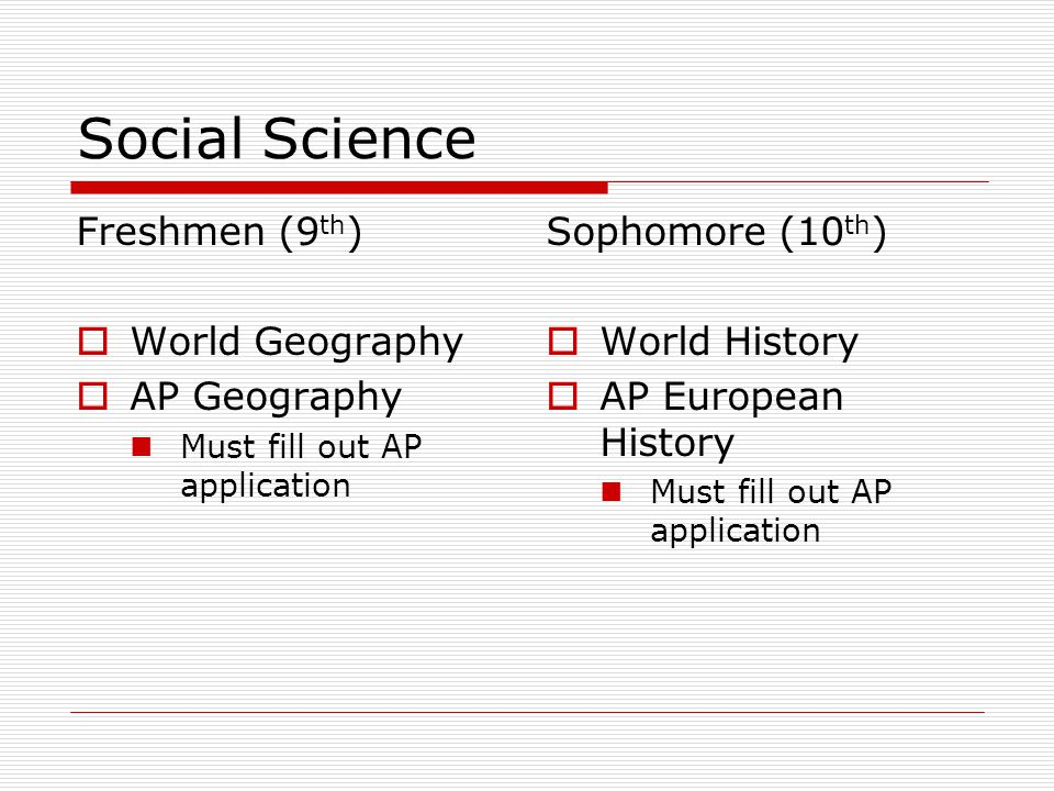Social Science Freshmen (9 th )  World Geography  AP Geography Must fill out AP application Sophomore (10 th )  World History  AP European History Must fill out AP application