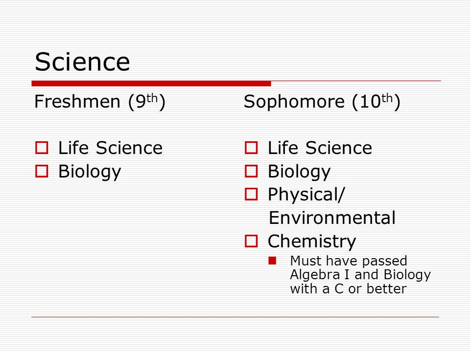 Science Freshmen (9 th )  Life Science  Biology Sophomore (10 th )  Life Science  Biology  Physical/ Environmental  Chemistry Must have passed A