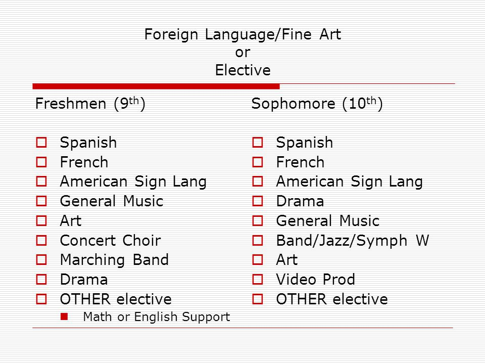 Foreign Language/Fine Art or Elective Freshmen (9 th )  Spanish  French  American Sign Lang  General Music  Art  Concert Choir  Marching Band 