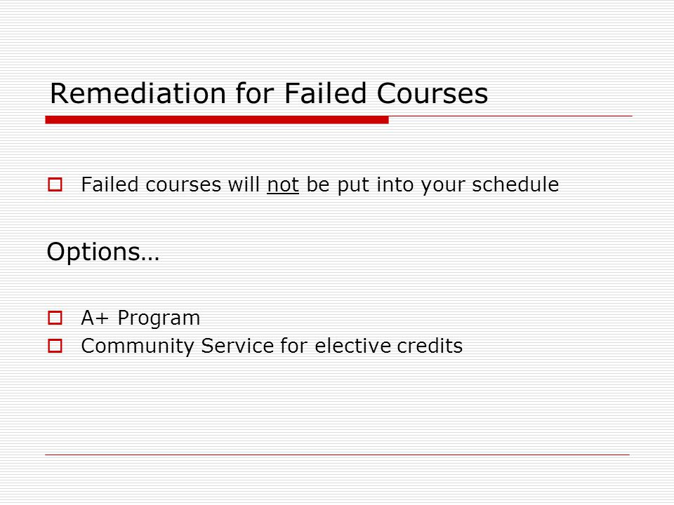 Remediation for Failed Courses  Failed courses will not be put into your schedule Options…  A+ Program  Community Service for elective credits
