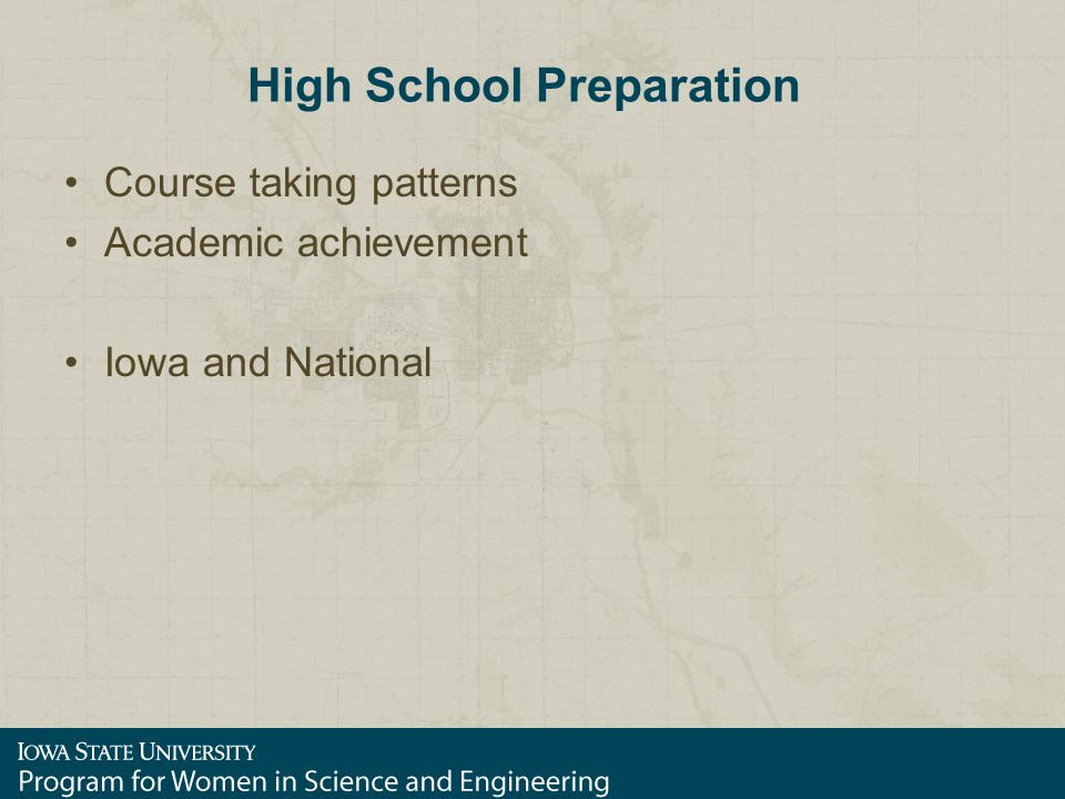 High School Preparation Course taking patterns Academic achievement Iowa and National