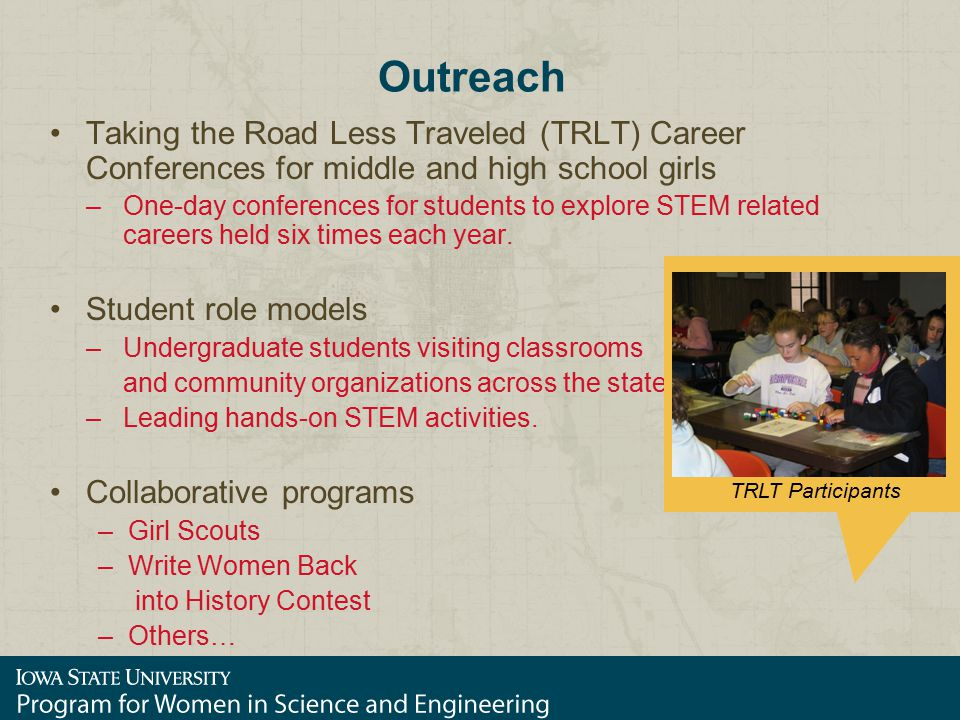 Outreach Taking the Road Less Traveled (TRLT) Career Conferences for middle and high school girls –One-day conferences for students to explore STEM re