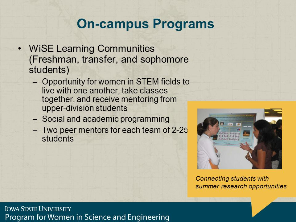 On-campus Programs WiSE Learning Communities (Freshman, transfer, and sophomore students) –Opportunity for women in STEM fields to live with one another, take classes together, and receive mentoring from upper-division students –Social and academic programming –Two peer mentors for each team of 2-25 students Connecting students with summer research opportunities