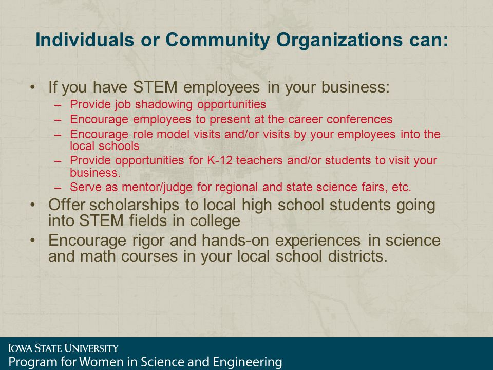 Individuals or Community Organizations can: If you have STEM employees in your business: –Provide job shadowing opportunities –Encourage employees to present at the career conferences –Encourage role model visits and/or visits by your employees into the local schools –Provide opportunities for K-12 teachers and/or students to visit your business.