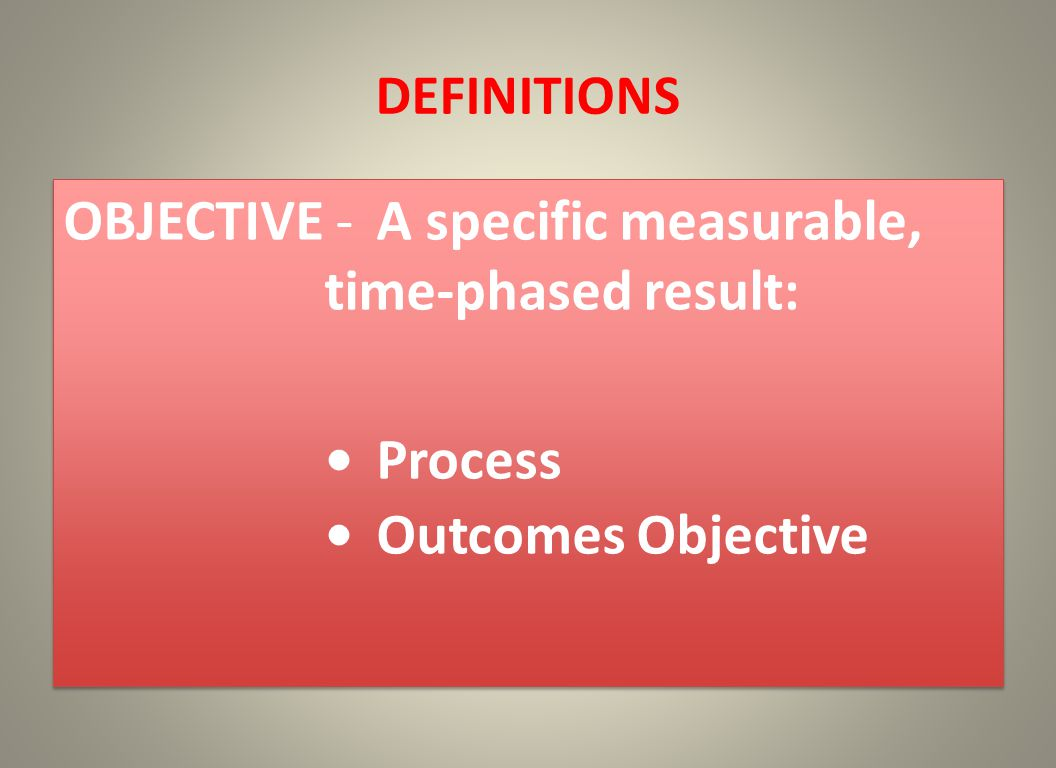 DEFINITIONS OBJECTIVE -A specific measurable, time-phased result: Process Outcomes Objective OBJECTIVE -A specific measurable, time-phased result: Process Outcomes Objective