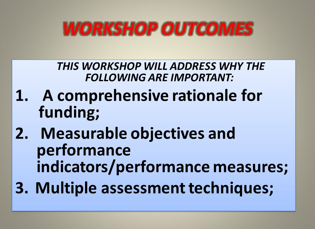 THIS WORKSHOP WILL ADDRESS WHY THE FOLLOWING ARE IMPORTANT: 1.