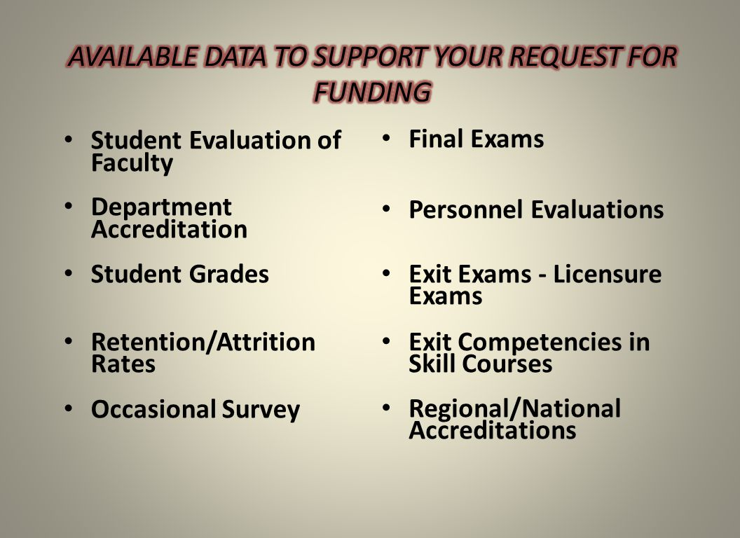 Student Evaluation of Faculty Department Accreditation Student Grades Retention/Attrition Rates Occasional Survey Final Exams Personnel Evaluations Exit Exams - Licensure Exams Exit Competencies in Skill Courses Regional/National Accreditations