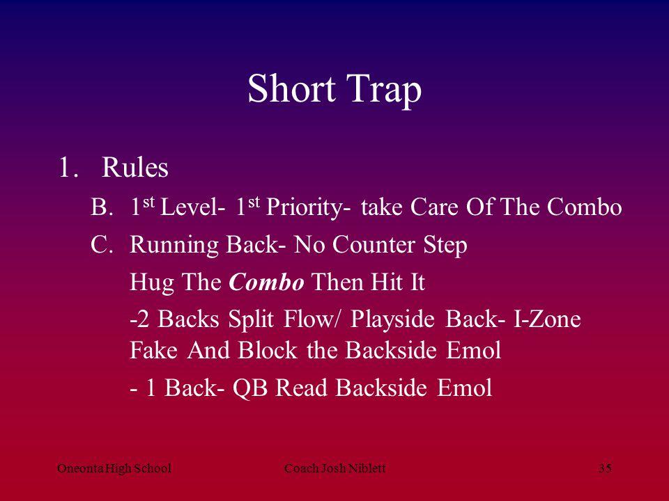 Oneonta High SchoolCoach Josh Niblett36 Short Trap 2.Tags A.Stay B.Load C.Near