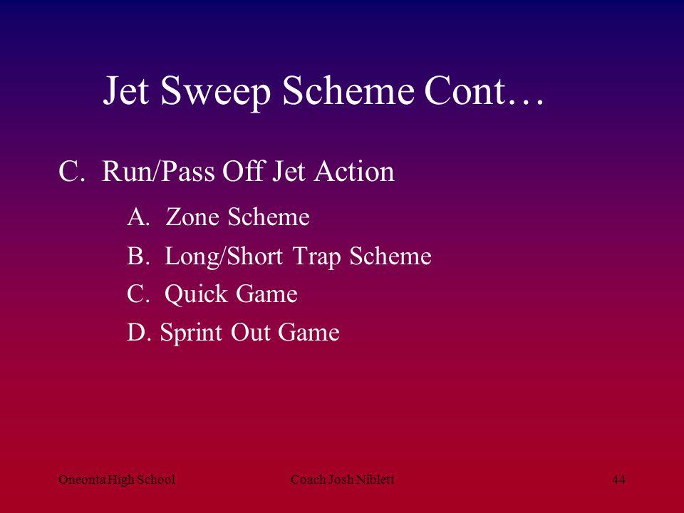 Oneonta High SchoolCoach Josh Niblett44 Jet Sweep Scheme Cont… C. Run/Pass Off Jet Action A. Zone Scheme B. Long/Short Trap Scheme C. Quick Game D. Sp