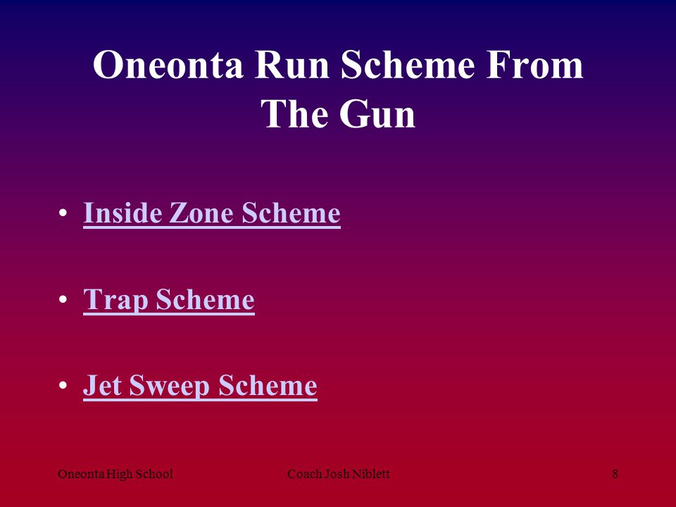 Oneonta High SchoolCoach Josh Niblett9 Inside Zone (Stance, Technique, Assignment, Finish, Fun) Rules A.