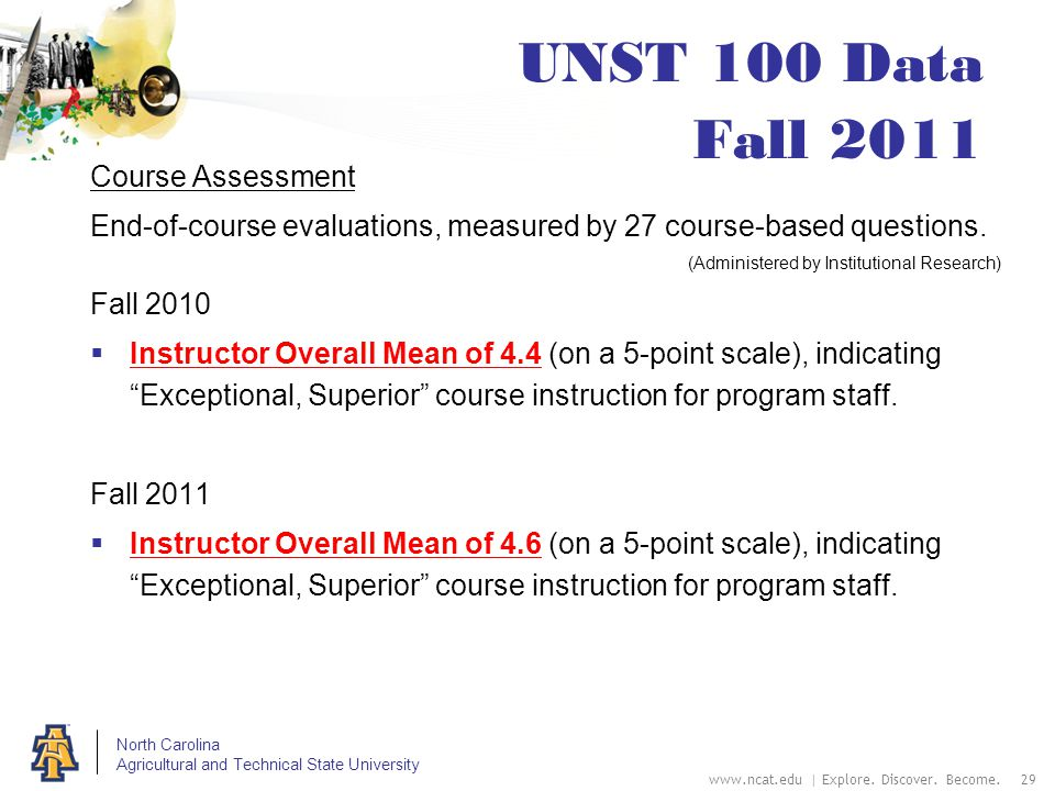 North Carolina Agricultural and Technical State University UNST 100 Data Fall 2011 Course Assessment End-of-course evaluations, measured by 27 course-based questions.