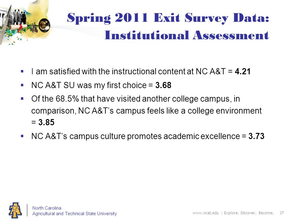 North Carolina Agricultural and Technical State University Spring 2011 Exit Survey Data: Institutional Assessment  I am satisfied with the instructional content at NC A&T = 4.21  NC A&T SU was my first choice = 3.68  Of the 68.5% that have visited another college campus, in comparison, NC A&T's campus feels like a college environment = 3.85  NC A&T's campus culture promotes academic excellence = 3.73 www.ncat.edu | Explore.