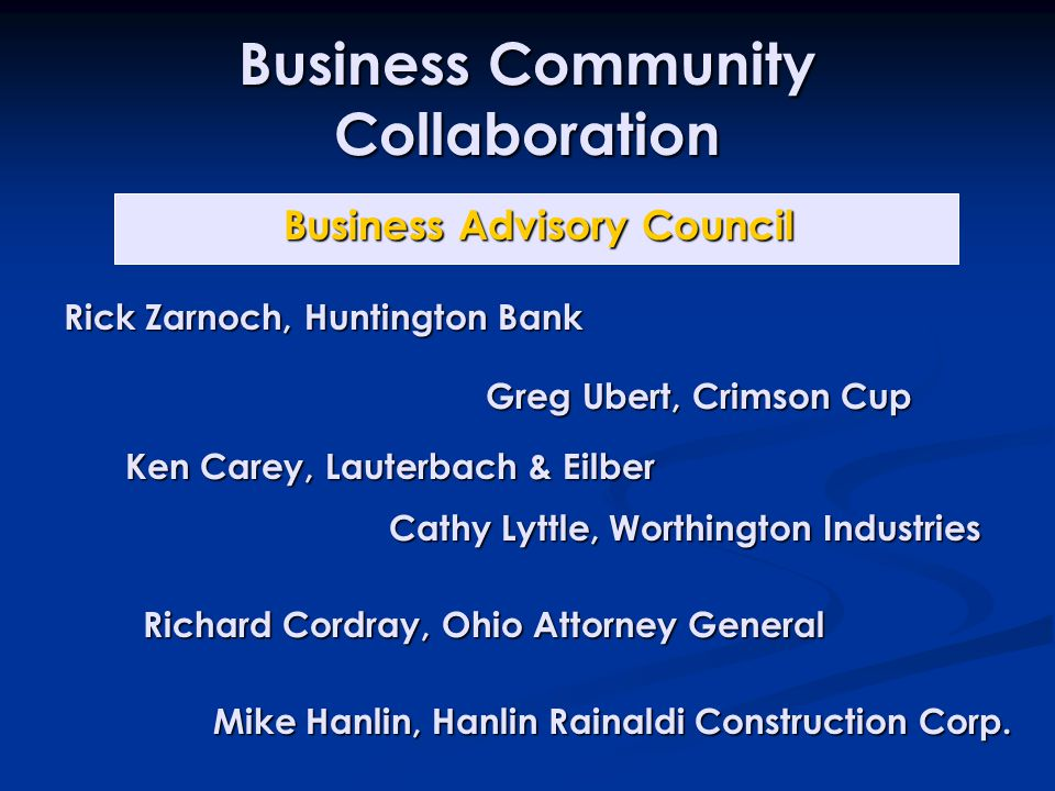 Business Community Collaboration Ken Carey, Lauterbach & Eilber Mike Hanlin, Hanlin Rainaldi Construction Corp.