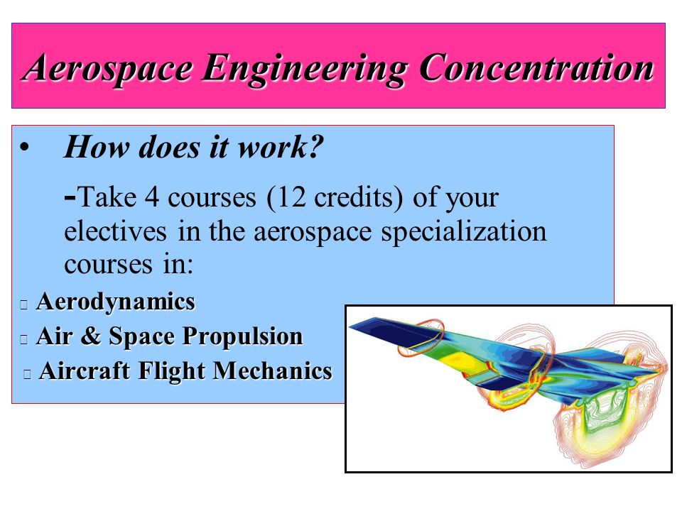 How does it work? - Take 4 courses (12 credits) of your electives in the aerospace specialization courses in:  Aerodynamics  Air & Space Propulsion
