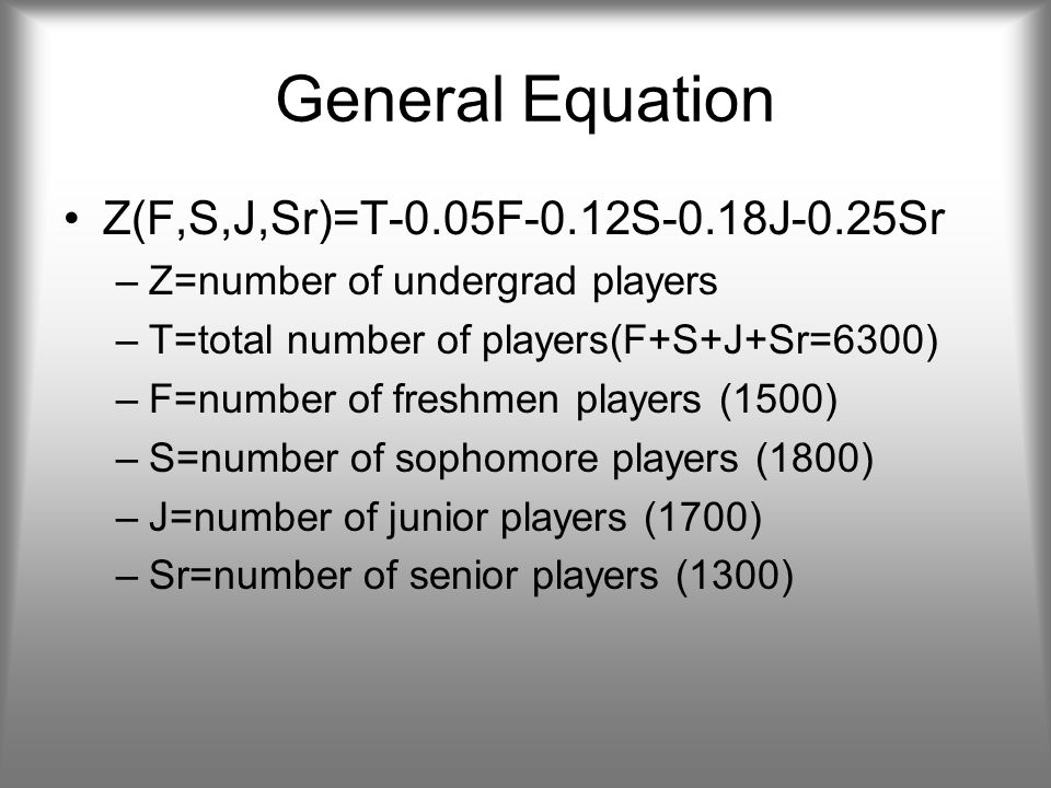 General Equation Z(F,S,J,Sr)=T-0.05F-0.12S-0.18J-0.25Sr –Z=number of undergrad players –T=total number of players(F+S+J+Sr=6300) –F=number of freshmen players (1500) –S=number of sophomore players (1800) –J=number of junior players (1700) –Sr=number of senior players (1300)