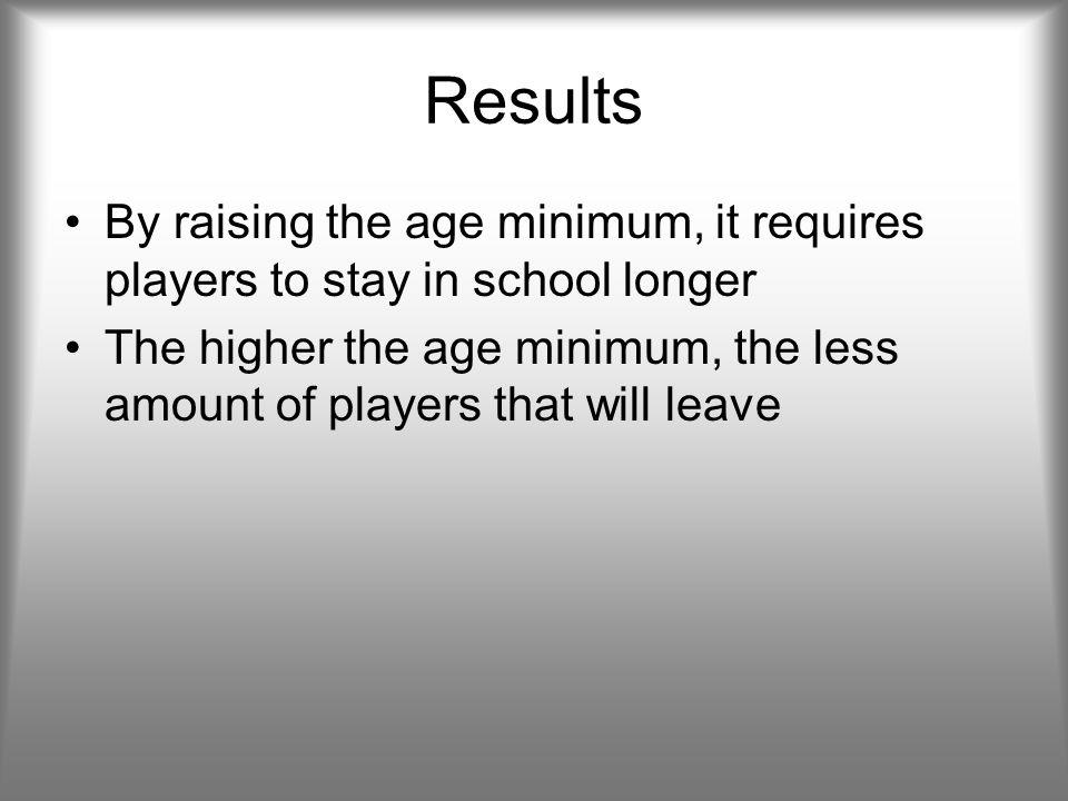 Results By raising the age minimum, it requires players to stay in school longer The higher the age minimum, the less amount of players that will leave