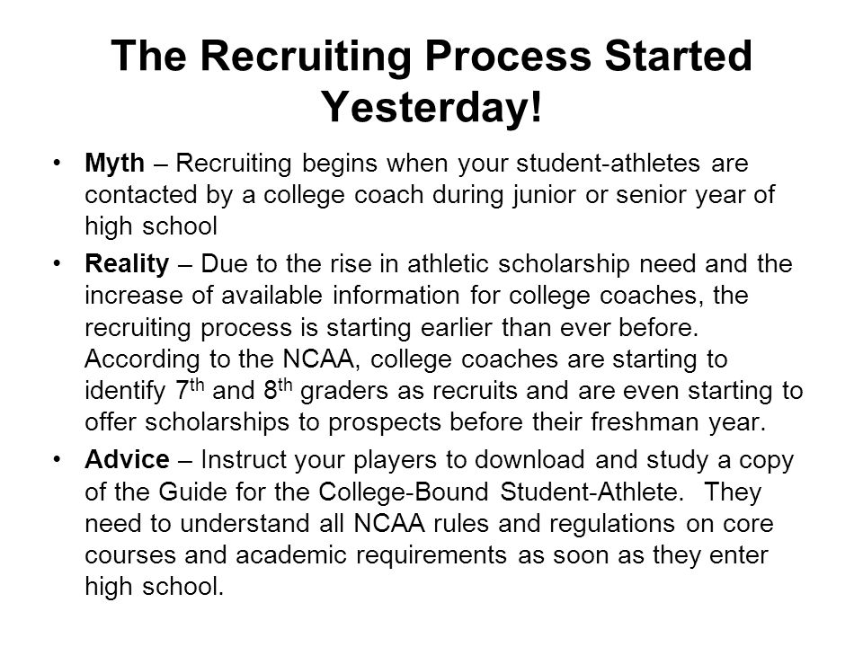 The Recruiting Process Started Yesterday.