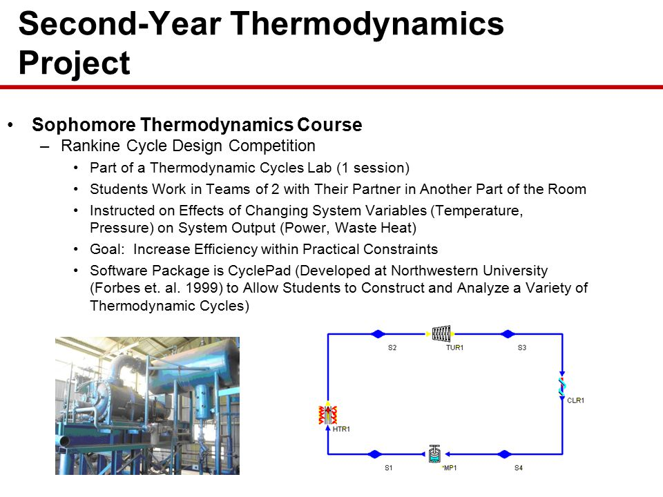 Sophomore Thermodynamics Course –Rankine Cycle Design Competition Part of a Thermodynamic Cycles Lab (1 session) Students Work in Teams of 2 with Their Partner in Another Part of the Room Instructed on Effects of Changing System Variables (Temperature, Pressure) on System Output (Power, Waste Heat) Goal: Increase Efficiency within Practical Constraints Software Package is CyclePad (Developed at Northwestern University (Forbes et.