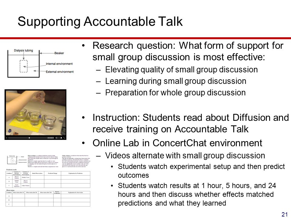 Supporting Accountable Talk Research question: What form of support for small group discussion is most effective: –Elevating quality of small group discussion –Learning during small group discussion –Preparation for whole group discussion Instruction: Students read about Diffusion and receive training on Accountable Talk Online Lab in ConcertChat environment –Videos alternate with small group discussion Students watch experimental setup and then predict outcomes Students watch results at 1 hour, 5 hours, and 24 hours and then discuss whether effects matched predictions and what they learned 21