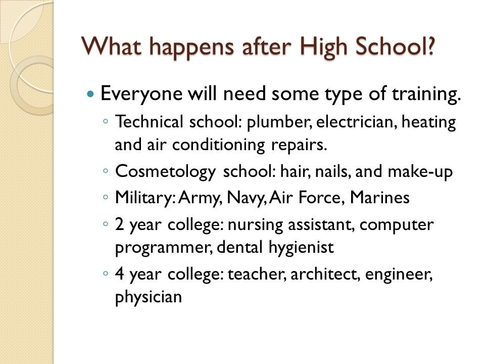 What happens after High School. Everyone will need some type of training.