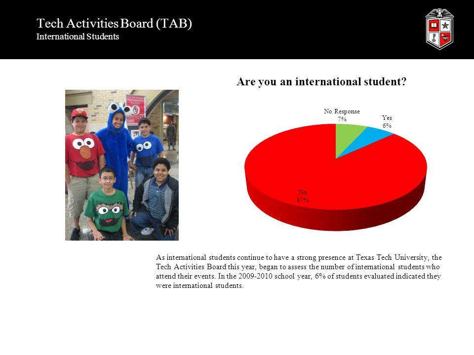 Tech Activities Board (TAB) International Students As international students continue to have a strong presence at Texas Tech University, the Tech Act