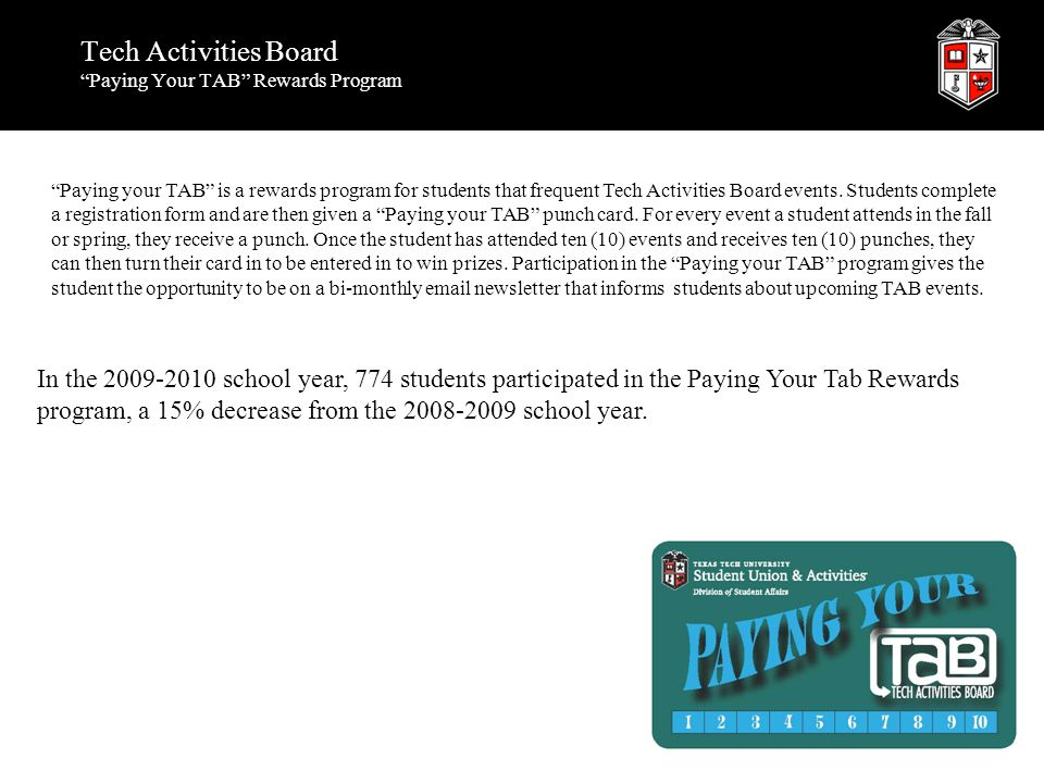 """Tech Activities Board """"Paying Your TAB"""" Rewards Program """"Paying your TAB"""" is a rewards program for students that frequent Tech Activities Board events"""