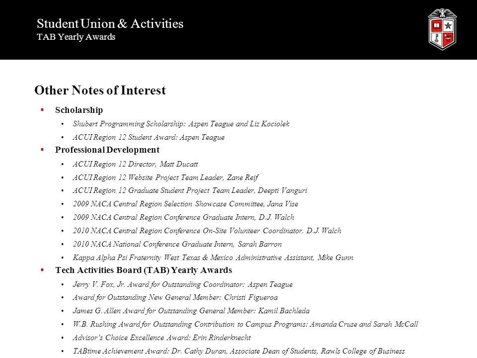 Student Union & Activities TAB Yearly Awards Other Notes of Interest  Scholarship Shubert Programming Scholarship: Aspen Teague and Liz Kociolek ACUI