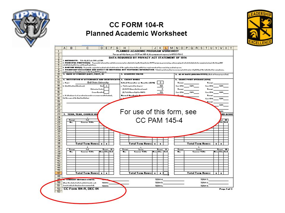 CC FORM 104-R Planned Academic Worksheet For use of this form, see CC PAM 145-4