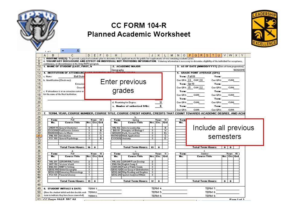 CC FORM 104-R Planned Academic Worksheet Include all previous semesters Enter previous grades