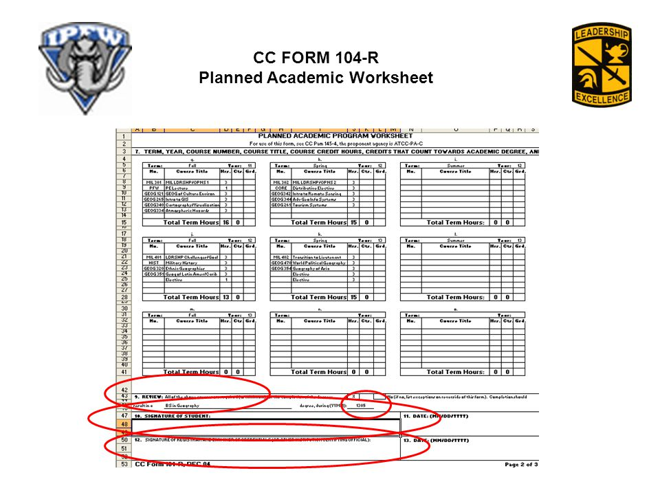 CC FORM 104-R Planned Academic Worksheet