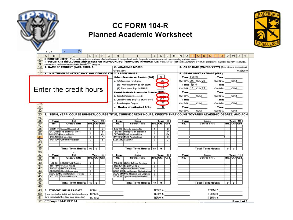 CC FORM 104-R Planned Academic Worksheet Enter the credit hours