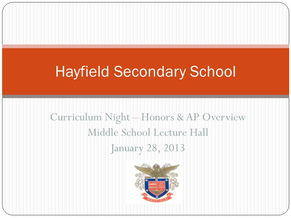 Curriculum Night – Honors & AP Overview Middle School Lecture Hall January 28, 2013 Hayfield Secondary School